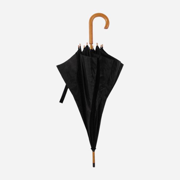 Kišobran s drvenom drškom – crni