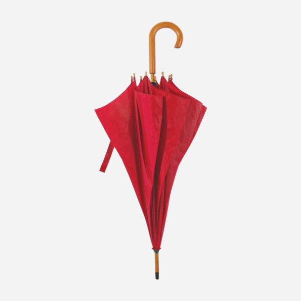 Kišobran s drvenom drškom – crveni