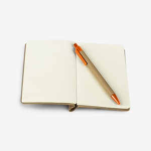 Notes od pluta Cork s olovkom - narančasti otvoreni